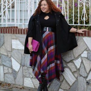 Melissa McCarthy Hi-Low Plaid Autumn Colored Skirt